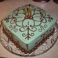 Steve's Scroll Work Cake my very first square cake. i don't care for corners. birthday cake for my hubby. vanilla cake with strawberries and cream cheese. sage...