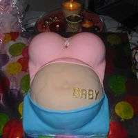 Belly Cake   For my cousin baby shower .Made from 11x15, soccerpan and sportball for the boobies.