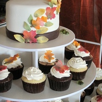 Fall Wedding   Chocolate, Vanilla, and Marble cupcakes. Fondant leaves. Thanks!