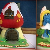 Smurfs!!  This cake was SO much fun to do and I'm really happy with the result. The top of the mushroom is cake but the bottom is a bowl...I&#...