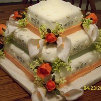 Peach And Sage Green Wedding Cake Peach and sage green fondant ribbon, with royal icing monagram and fondant dots. Cake is white cake with raspberry filling and white...