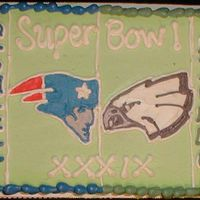 2005 Superbowl Cake This is a quarter sheet done in buttercream made for a superbowl party.