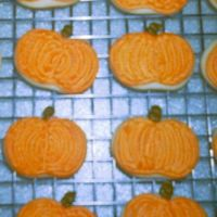 Pumpkin Sugar Cookies NFSC w/ Alice's Cookie Icing. About 2""
