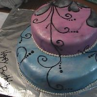 Birthday For Mom! this is a neat pink and blue fondant cake we did. also there is some black writing gel to make the swirlys. enjoy!