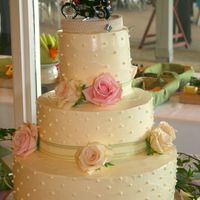 Claire And Christopher's Wedding Cake  This cake is a lemon raspberry with lemon meringue buttercream. Decroations are buttercream dots, ribbon and fresh roses. This cake has 3...