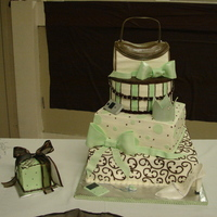 Brown And Green Quincenera Cake All buttercream with fondant bows, crown, shoes , ipod, cell phone and purse flap and handle