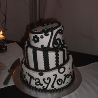 Topsy Turvy Black And White Sweet 16 Birthday Cake!