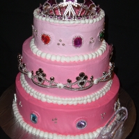 Birthday Princess Birthday Girl wanted a Big, Pink Princess cake with LOTS of Bling.