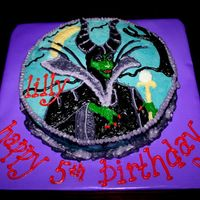 Maleficent Evil Fairy from Sleeping Beauty hand drawn with buttercream