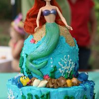 Under The Sea Ariel from the Little Mermaid. Cake in buttercream with Fondant accents (Flounder/tail) and chocolate shells. Her tail has luster dust....