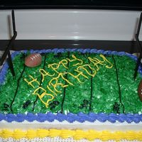 Lsu Football this is an lsu football cake i did for a friend. i used coconut as grass, and painted popsicle sticks for the goal posts. I also found so...