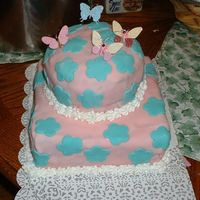 First Stacked Cake this came out horribly. this was my first attempt at a stacked cake, with fondant at that. it was gross, but oh well. it was my first what...