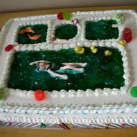 Swimming Pool Can you see her swimming school logos on her swim suit and cap?I had too much fun making this cake:)