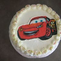 Cars Lightning Mcqueen FBCT. I know those sprinkles won't much with this cake but the BD boy can't have any food coloring and those sprinkles are all...