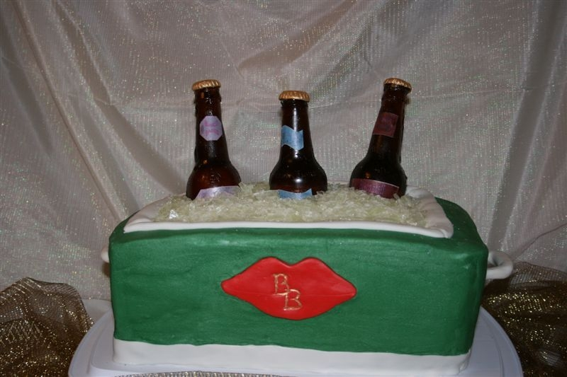 Beer Cooler Neapolitan layered cake with buttercream. Candy bottles with wafer paper labels. Everything is edible. Made for a Bunco Babe's group...