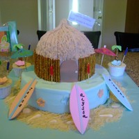 "Tiki Hut Cake 10"" french vanilla bottom, 6"" chocolate top with half sports ball. The cake is iced in buttercream, and the sides of the hut are..."