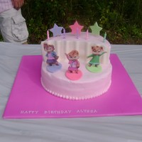 "Chipettes Stage Cake Bottom is a 10"" iced in buttercream. Top is a 10"" cut in half and stacked. Curtains and decorations are made out of fondant."
