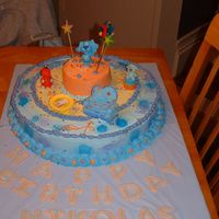 "Blue's Clue's 1St Birthday Cake This is a two tier Blues CLuse Birthday cake. The bottom is a 16' round pan and top is 4"". Letters are Fondant."