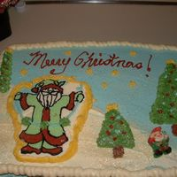 Christmas Cake Cake is Choc with Choc Moose filling and BC icing, Santa is a BCT.