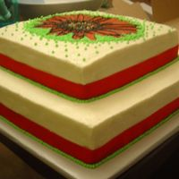 Bridal Shower Red Gerber Daisy with Green Royal icing dots, Butter cream