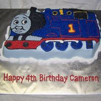 Thomas The Tank Engine For Carson I couldn't find a Thomas pan locally so I baked the cake in Wilton's Train Pan. I had to do a little trimming to make it work for...