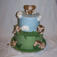 Jungle Animals For Laura & Luke I made this cake to match the baby's bedding set (Lambs & Ivy from JC Penney). Jungle animals are gumpaste (my 1st time making...