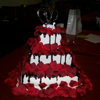 Square Wedding Cake  Square Cakes, white on bottom layer, red velvet 2nd layer and chocolate on top. filled with buttercream, covered with fondant, chocolate...