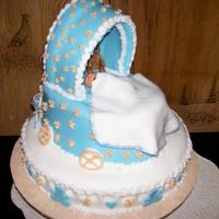 Baby Carriage Carriage is chocolate cake and filling. Covered with MMF... sitting on vanilla cake and filling.