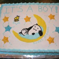 Snoopy I made this for a baby shower. It's iced in buttercream with chocolate molded stars. This idea came from other CC cakes...thanks.