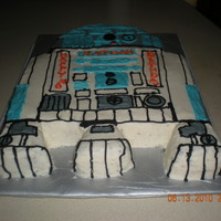 R2D2 Cake Chocolate cake with buttercream frosting.
