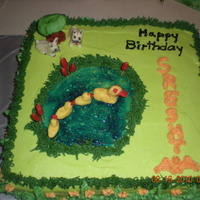 "Pond Cake 12"" vanilla cake with decorations in candy clay."