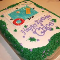 Swimming Pool Cake  Swimming pool cake for 7th birthday pool party. The little girl asked for a pool cake and her favorite color is purple. Its all bc except...