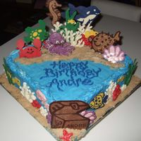 Underwater Sea Creature Cake Cake for 5 year old who wanted an underwater sea creature cake. All the decorations are chocolate/candy melts. The sand is light brown...