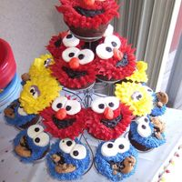 Sesame Street Cupcakes These were so fun to make. My favorite are the cookie monster ones. All bc except eyes which are marshmellows cut into quarters and I used...