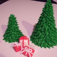 Christmas Trees And Presents Cake Topper  I know that this isn't a cake, but it was meant for a cake that never happened :( and I worked so hard on this topper that I really...