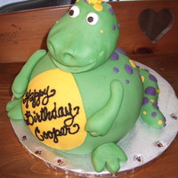 Dinosaur Cake  Dinosaur cake for my DS's birthday. The instructions for this cake were kindly provided by klacrawford. Thanks so much for your help....