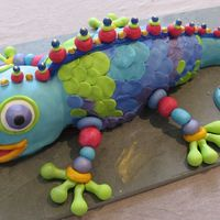 Chameleon This was for my daughter's 6th birthday. Chococlate cake covered with fondant - my version of Collette Peter's 'Mr Sticky...