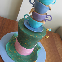 "The Mad Hatter's Tea Party The hat is 1x7"", 2x6"", 1x5"" chocolate cakes, filled with chocolate ganache, stacked, carved to shape, covered in ganache..."