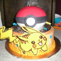 Pokemon Ball And Pikachu the ball is covered in silk ice fondant and the pikachu is made from chocolate.