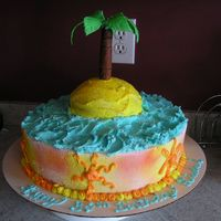 Kakesplus_230.jpg my girlfriend tropical beach theme cake. the cake is buttercream with fondant palm tree in the middle.