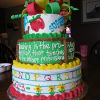Teacher Appreciation Cake i made this cake for teacher appreciation week at my childrens' school. the entire cake is bc with fondant bow.