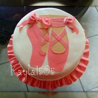 Ballet Shoes My cousin turned 11 this weekend. Shes taking dance classes so I made her a ballet themed bday cake.Chocolate cake filled with strawberry...