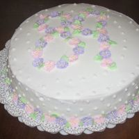 89Th Birthday I did this cake for my husband's grandmother's birthday. It's a double layer white cake with strawberry jam in between the...
