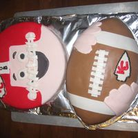 "Kansas City Chiefs Football Cake This is a cake I made for my nephew's 8th birthday. It's a 10"" round single layer chocolate cake and the football pan. They..."