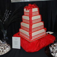 Red Lace And Ribbons Red cornelli lace and ribbons for a bridal show