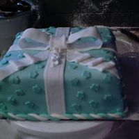 Mmf Blue Baby Shower Presant Cake My first MMF cake. Turned out pretty nice I think and customers were pleased! I learned that if I use cornstarch that it makes the fondant...