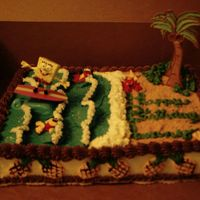 Sponge Bob- Surf Bob Square Pants This is a mostly butter cream creation, I used grham cracker crumbs for the beach and I made the palm trees out of color flow , I made 7...