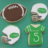 Quarterback Cookies sugar cookies frosted with royal icing, made for my nephew