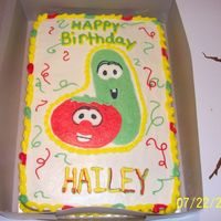 Veggie Tales I did this cake for my niece, on her 2nd B-day. It is Cho. cake, and butter creme icing. with a buttercreme transfer( my 2nd one) I got...