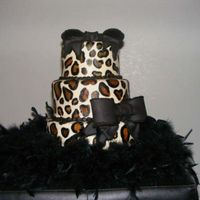 Lovely Leopard This was a for an untraditional bride.......I loved that. Just painted on leopard spots on fondant with black boa trim. TFL.